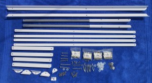All the parts necessary to make one adjustable bracket for two panels.