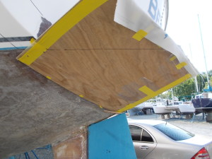 Plywood forms attached to hull