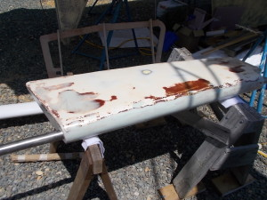 Passport 40 rudder prepared as a mold plug