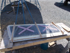1st half of rudder mold over parting board