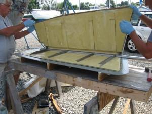 Assembling the rudder halves