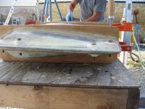 Rudder halves clamped together