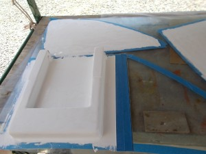 White Gelcoat applied to exterior areas of swim step.
