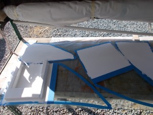 White gelcoat outlines ready for fibreglass layup.