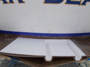 The completed swim step is trimmed to fit the transom.